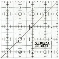 """Olfa QR-4S 4 1/2"""" Square Acrylic Ruler Non-Slip, Frosted"""
