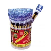 Olfa SPC-1/40 Plastic Standard-Duty Cutters in bucket display, 40/pk
