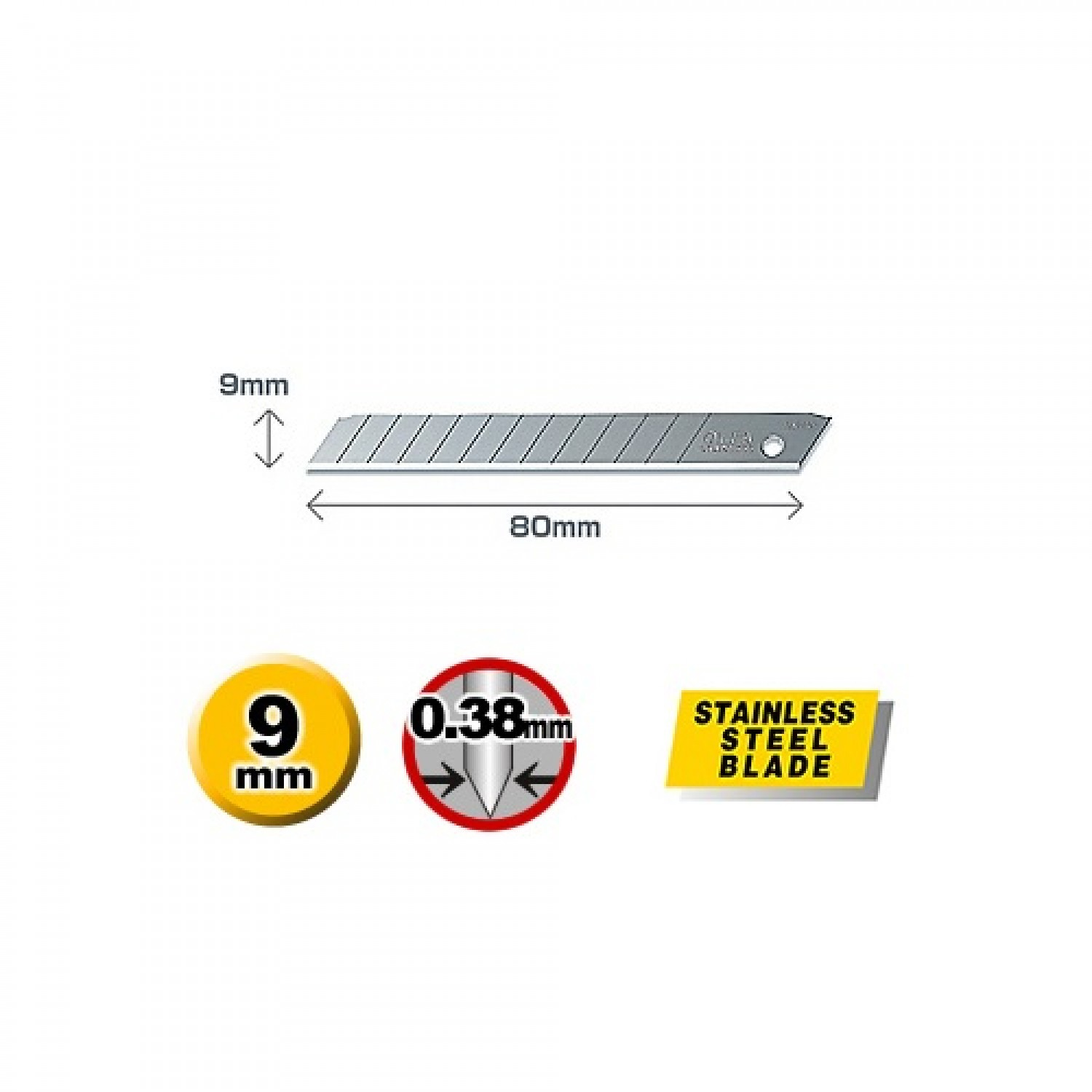 Olfa AB-10S Stainless Steel Blade Dimentions