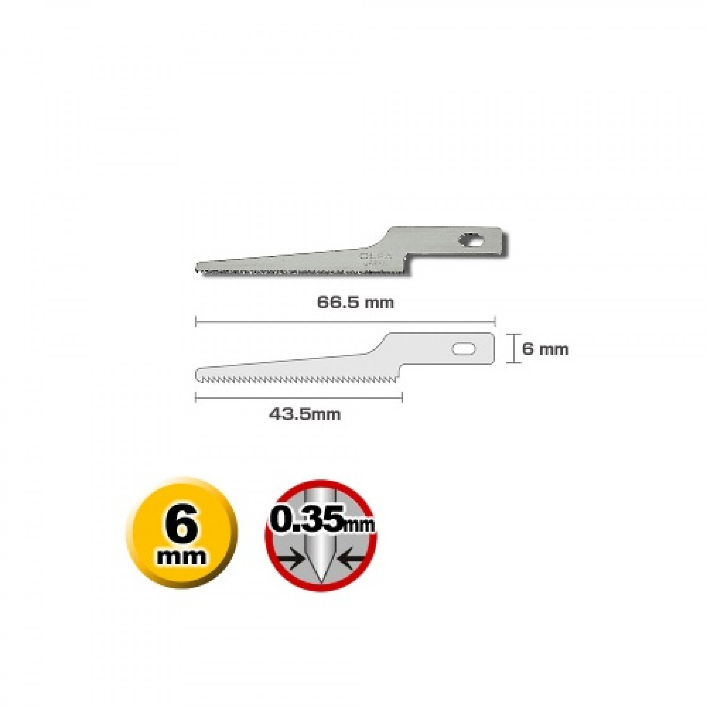 Olfa KB4-NS-3 Fine Tooth Saw Blade Dimensions