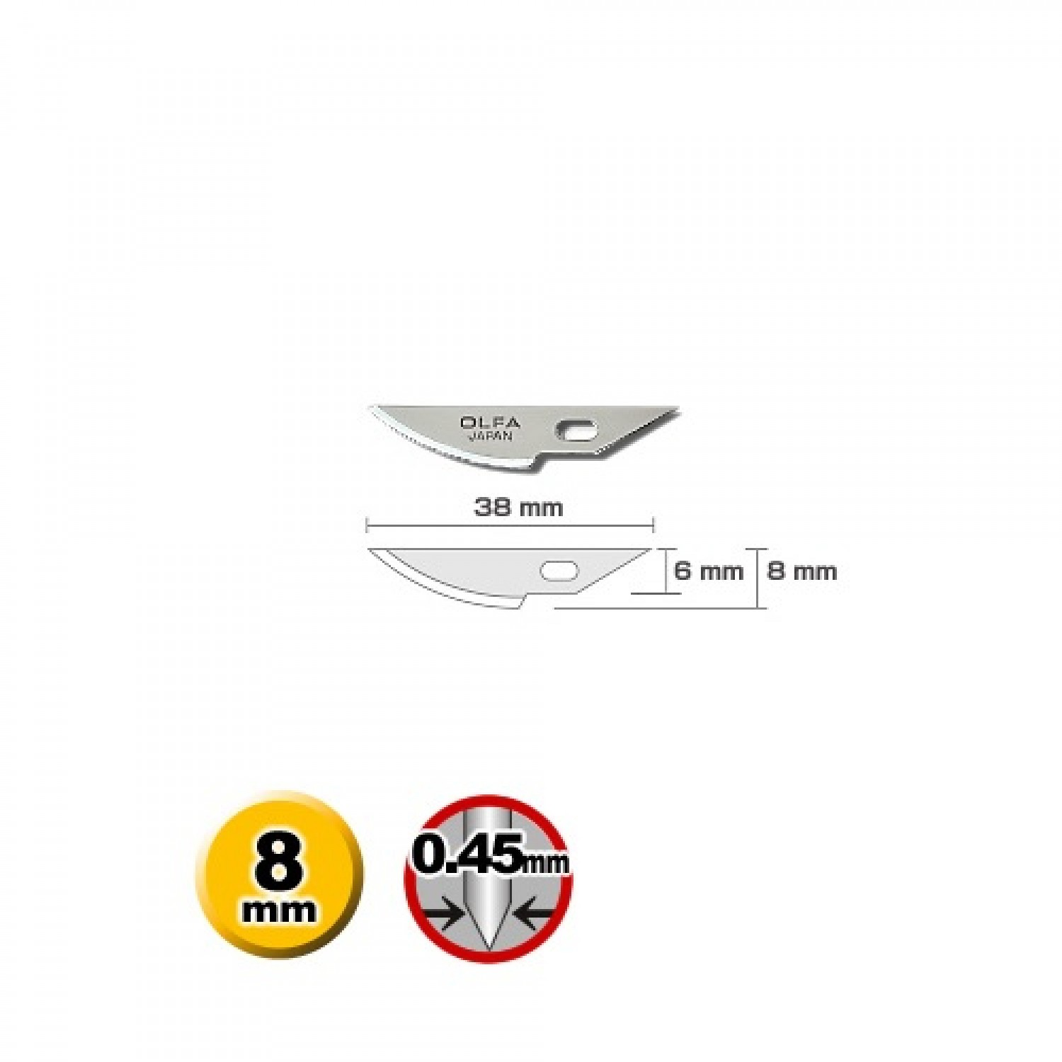 Olfa KB4-R/5 Curved Carving Blade Dimensions