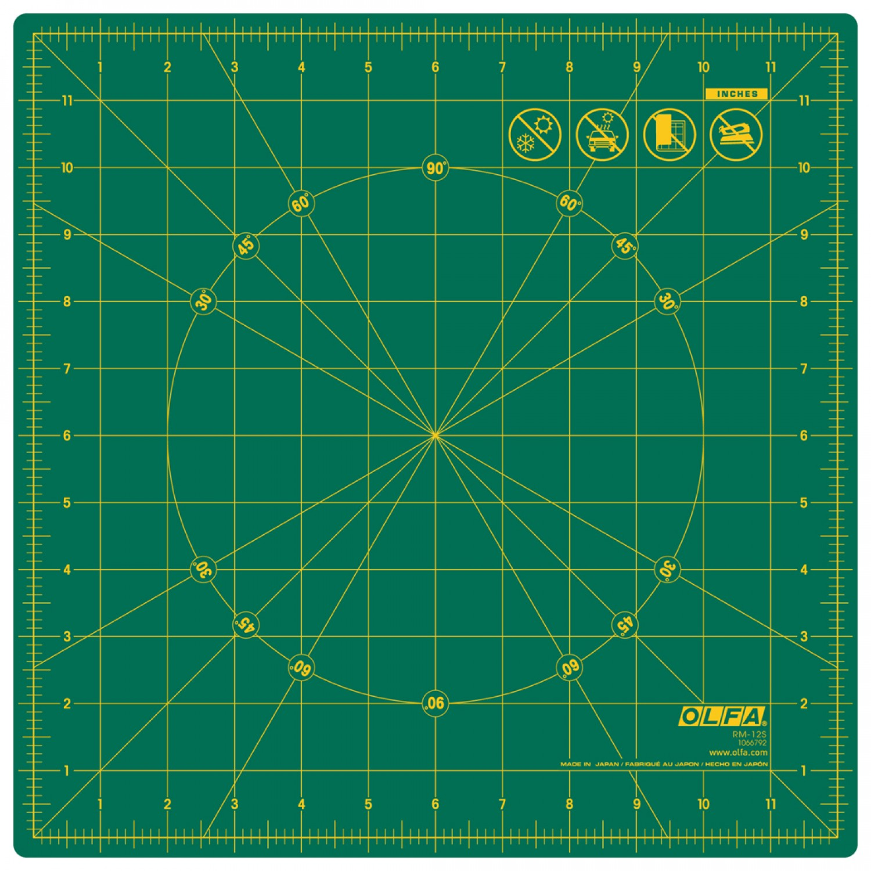 "Olfa RM-12S 12"" Square Rotating Cutting Mat Plain"