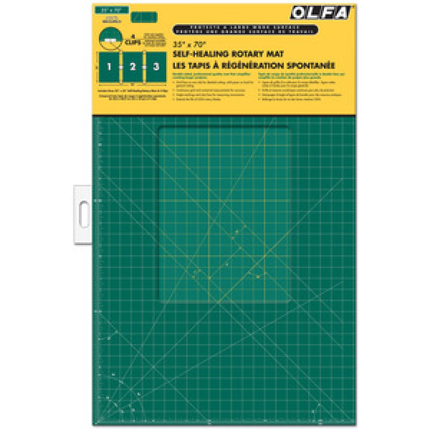 """Olfa RM-CLIPS-3 Continuous Grid Cutting Mat Set 35"""" x 70"""" Package"""